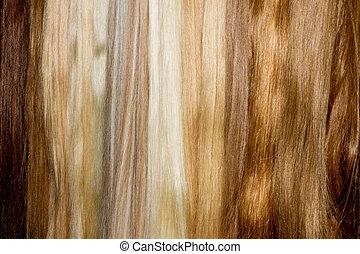 Brown false hair - Row  of brown false hair. Woman chignon.