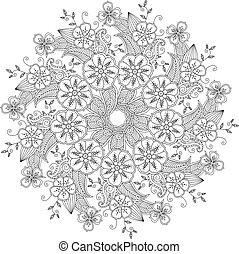 Mendie Mandala with flowers and leaves. Zenart inspired. Can...