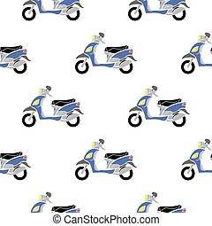 Seamless Blue Scooter Pattern - Blue Scooters Isolated on...
