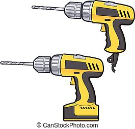 Drilling machine - Vector cartoon clipart picture of a...