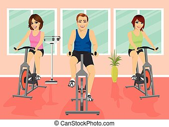 Group of people in gym, exercising their legs doing cardio...