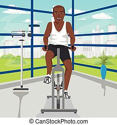african american man doing exercise on bike at gym - african...