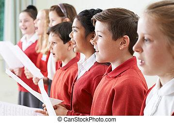 Chor, singende, Schule, Gruppe, Kinder