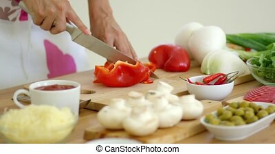 Woman preparing dinner chopping fresh ingredients - Woman...