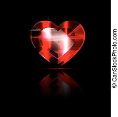 solid red heart-crystal - dark background and the large...