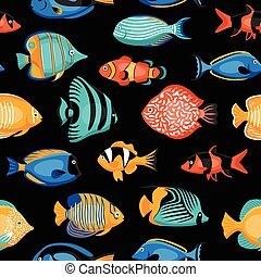 Tropical Fish Seamless Pattern - Exotic tropical fish...