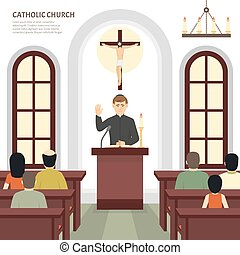 Catholic Church Priest - Color flat illustration depicting...