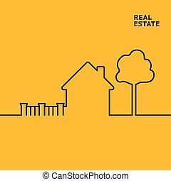 House in flat style. - House in flat style with tree and...