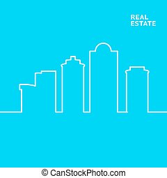 Line city scene Blue background with linear design Street...
