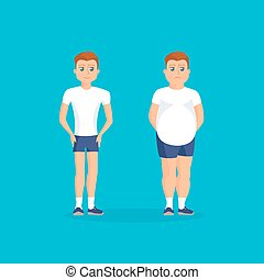 Man with fat abdomen and athletic man
