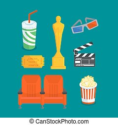 Set of various cinema intertainment things, Vector flat...