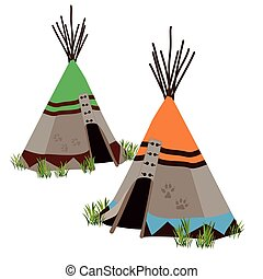 Tipi, traditional dwelling by Indigenous people, North America