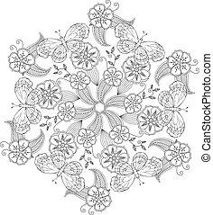 Mendie Mandala with butterflies, flowers and leaves. Zenart...