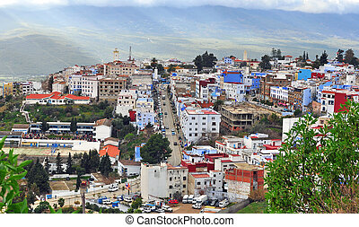 Panorama of Chefchaouen, Morocco - CHEFCHAOUEN, MOROCCO -...