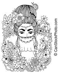 Vector illustration zentangl, Oriental Princess in flowers....