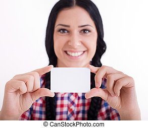Girl with businesscard - Pretty young girl with two braids...