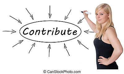 Contribute - young businesswoman drawing information concept...