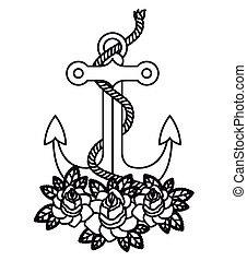 anchor tattoo isolated icon design