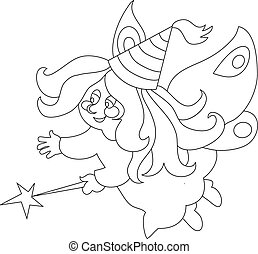 Beautiful cartoon fairy with magic wand. zFor coloring book.