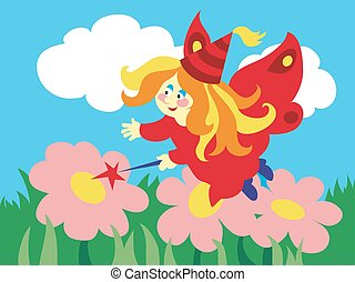 Beautiful cartoon fairy with magic wand on the meadow.