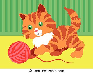 Cute orange kitten playing with a clew in room.