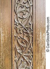 Wood craft Thai classic pattern