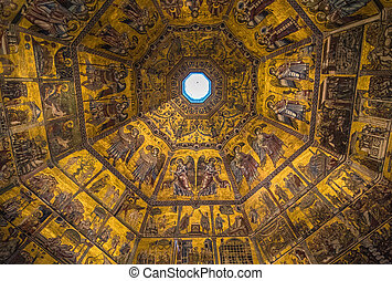 Magnificent mosaic ceiling of the Baptistry of San Giovanni,...