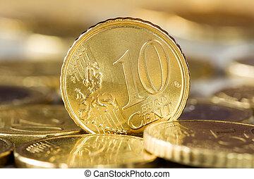 ficar, dez, moedas, centavo, outro, entre,  Euro