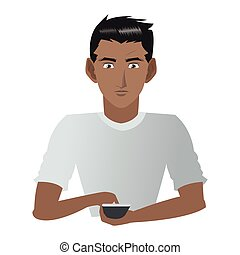 young man with cellphone icon - flat design young man with...