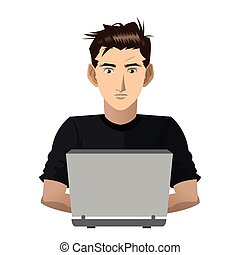 young man with computer icon