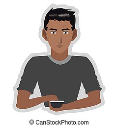 young man with cellphone icon