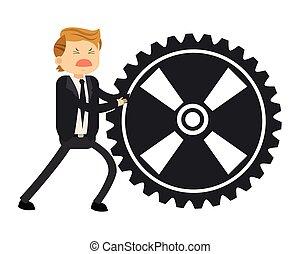 happy businessman pushing gear icon