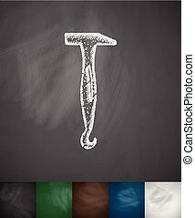 orthopedic hammer icon Hand drawn vector illustration...