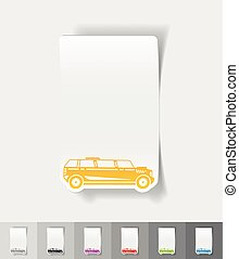 realistic design element limousine - limousine paper sticker...