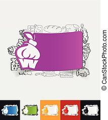 cake paper sticker with hand drawn elements - hand drawn...