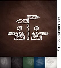 controversy icon. Hand drawn vector illustration. Chalkboard...