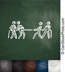 tug of war icon Hand drawn vector illustration Chalkboard...