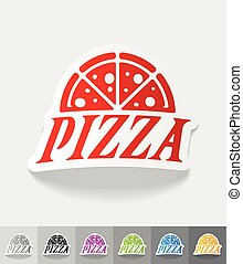 realistic design element. pizza - pizza paper sticker with...