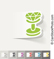 realistic design element. cufflink - cufflink paper sticker...
