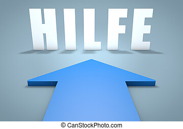 Hilfe - german word for help - 3d render concept of blue...
