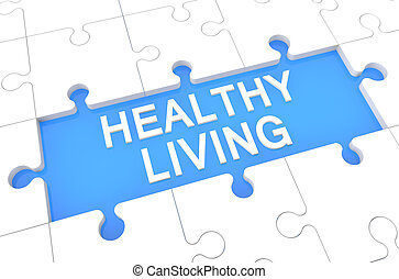 Healthy Living - puzzle 3d render illustration with word on...