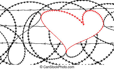 Red heart in barb wire fence - Natural heart shape...