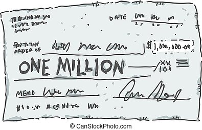 One Million Dollar Check - A cartoon check filled out in the...