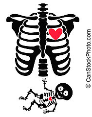 Pregnant. Funny skeletons mom and b