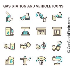 Gas station icon - Gas station and services vector icon sets...