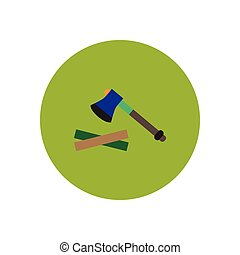 stylish icon in circle wood and an ax - stylish icon in...