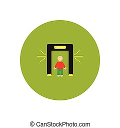 stylish icon in color circle people scanner