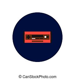 Vector icon on the white backgrounds in circles car radio