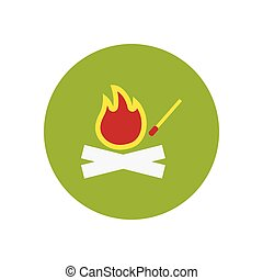 stylish icon in circle fire and match