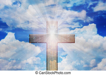 Light of God, Light and cross,Light from sky or heaven shine trough crucifix form,heaven sky